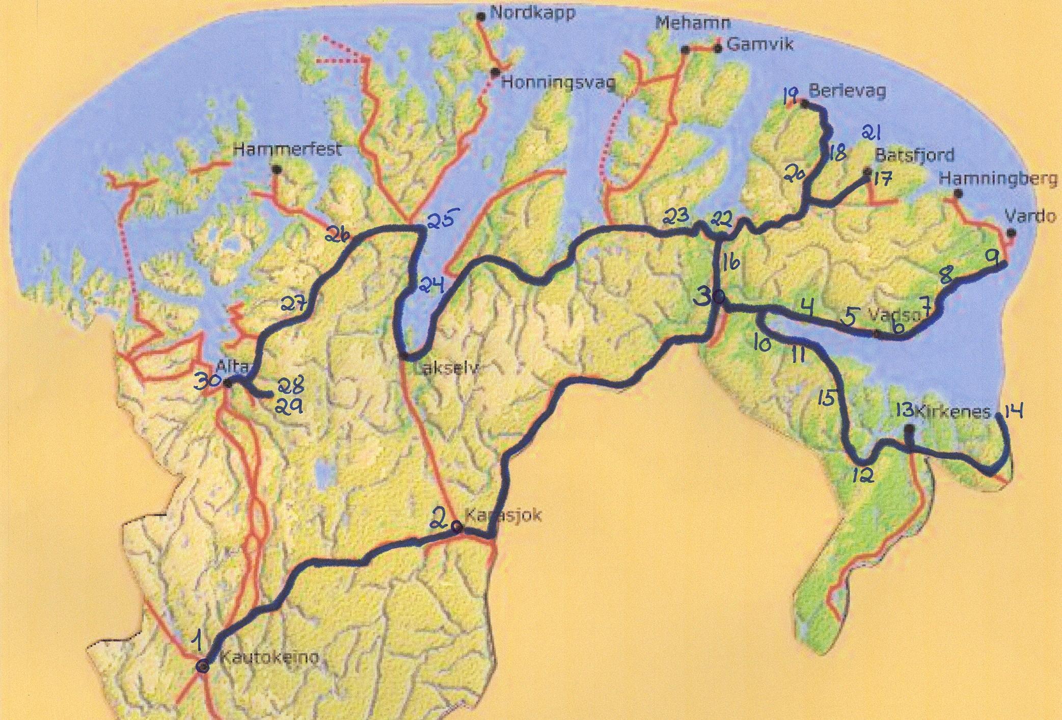 kart over nordkalotten Finnmarksturen kart over nordkalotten
